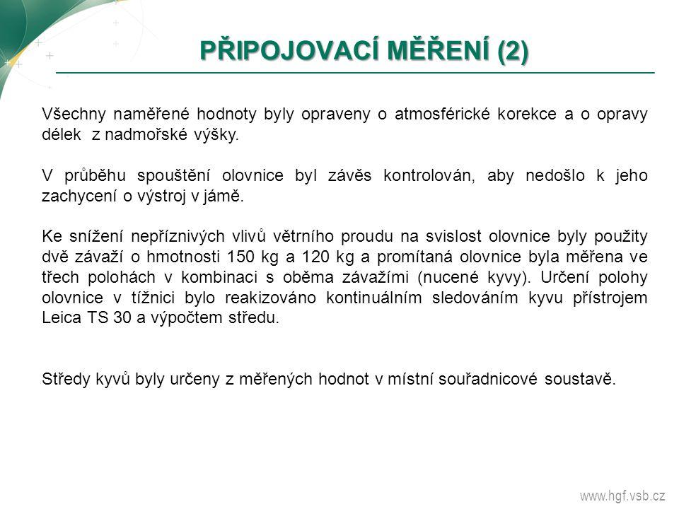 www.hgf.vsb.cz PŘIPOJOVACÍ MĚŘENÍ (2) PŘIPOJOVACÍ MĚŘENÍ (2) Všechny naměřené hodnoty byly opraveny o atmosférické korekce a o opravy délek z nadmořsk