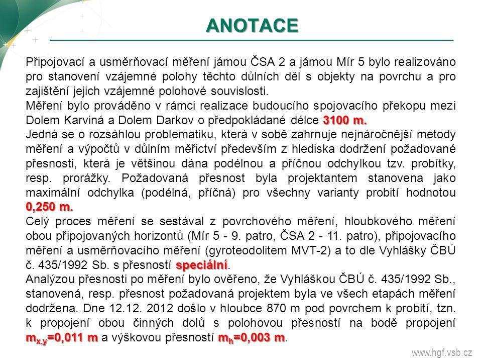 www.hgf.vsb.cz ANOTACE Připojovací a usměrňovací měření jámou ČSA 2 a jámou Mír 5 bylo realizováno pro stanovení vzájemné polohy těchto důlních děl s