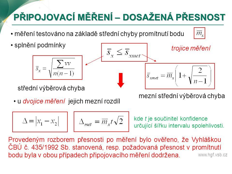 www.hgf.vsb.cz měření testováno na základě střední chyby promítnutí bodu splnění podmínky střední výběrová chyba mezní střední výběrová chyba trojice