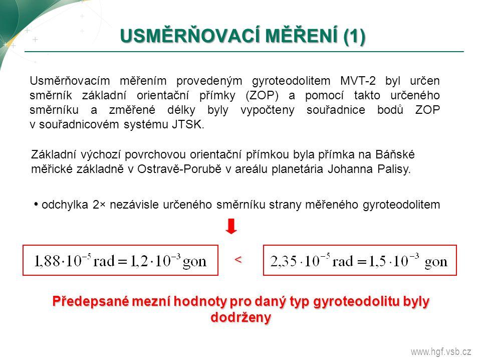 www.hgf.vsb.cz USMĚRŇOVACÍ MĚŘENÍ (1) Usměrňovacím měřením provedeným gyroteodolitem MVT-2 byl určen směrník základní orientační přímky (ZOP) a pomocí
