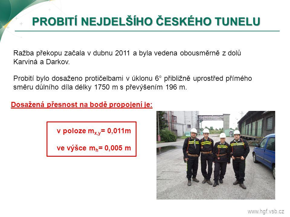 www.hgf.vsb.cz PROBITÍ NEJDELŠÍHO ČESKÉHO TUNELU Probití bylo dosaženo protičelbami v úklonu 6° přibližně uprostřed přímého směru důlního díla délky 1
