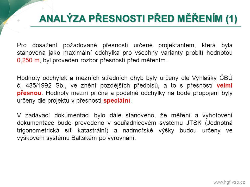 www.hgf.vsb.cz ANALÝZA PŘESNOSTI PŘED MĚŘENÍM (1) ANALÝZA PŘESNOSTI PŘED MĚŘENÍM (1) Pro dosažení požadované přesnosti určené projektantem, která byla