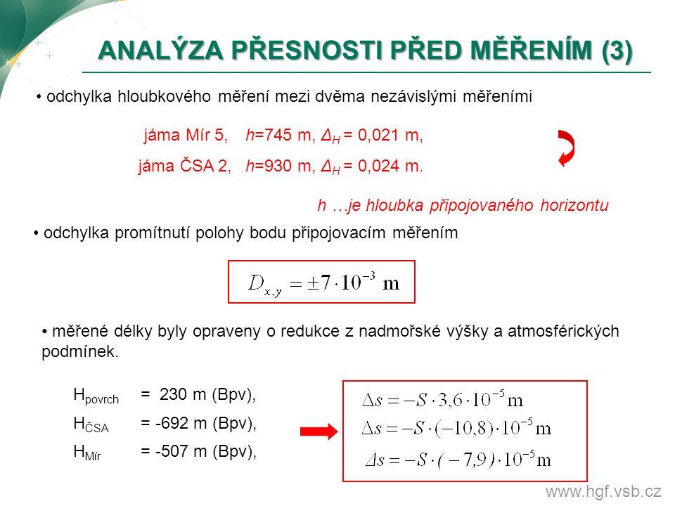 www.hgf.vsb.cz ANALÝZA PŘESNOSTI PŘED MĚŘENÍM (3) ANALÝZA PŘESNOSTI PŘED MĚŘENÍM (3) odchylka hloubkového měření mezi dvěma nezávislými měřeními jáma