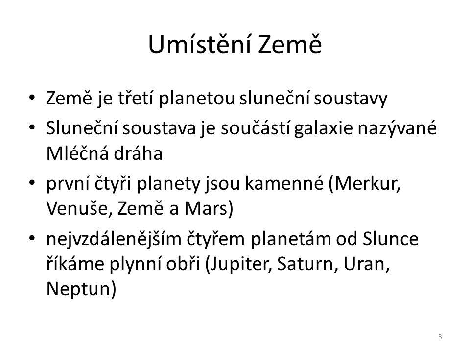 Umístění Země Země je třetí planetou sluneční soustavy Sluneční soustava je součástí galaxie nazývané Mléčná dráha první čtyři planety jsou kamenné (M