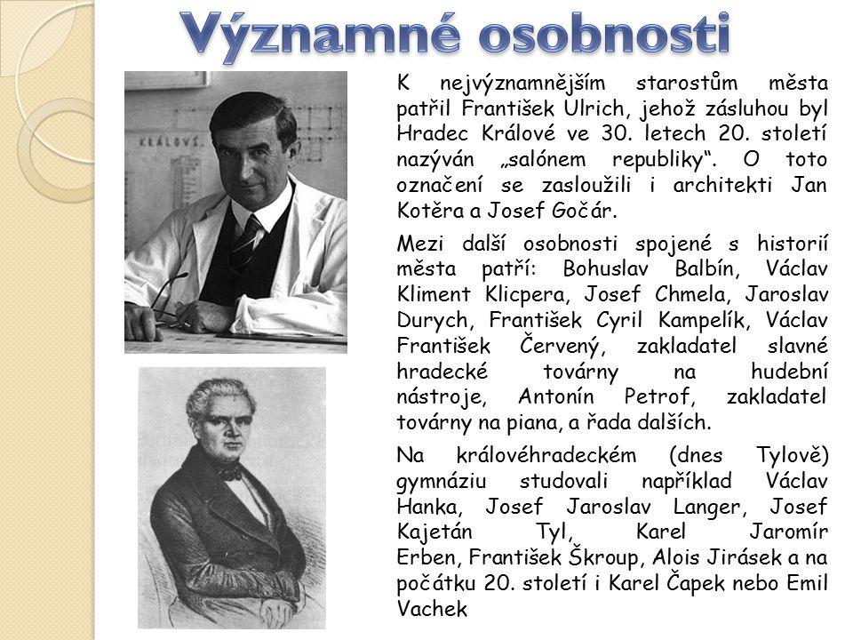 """K nejvýznamnějším starostům města patřil František Ulrich, jehož zásluhou byl Hradec Králové ve 30. letech 20. století nazýván """"salónem republiky"""". O"""