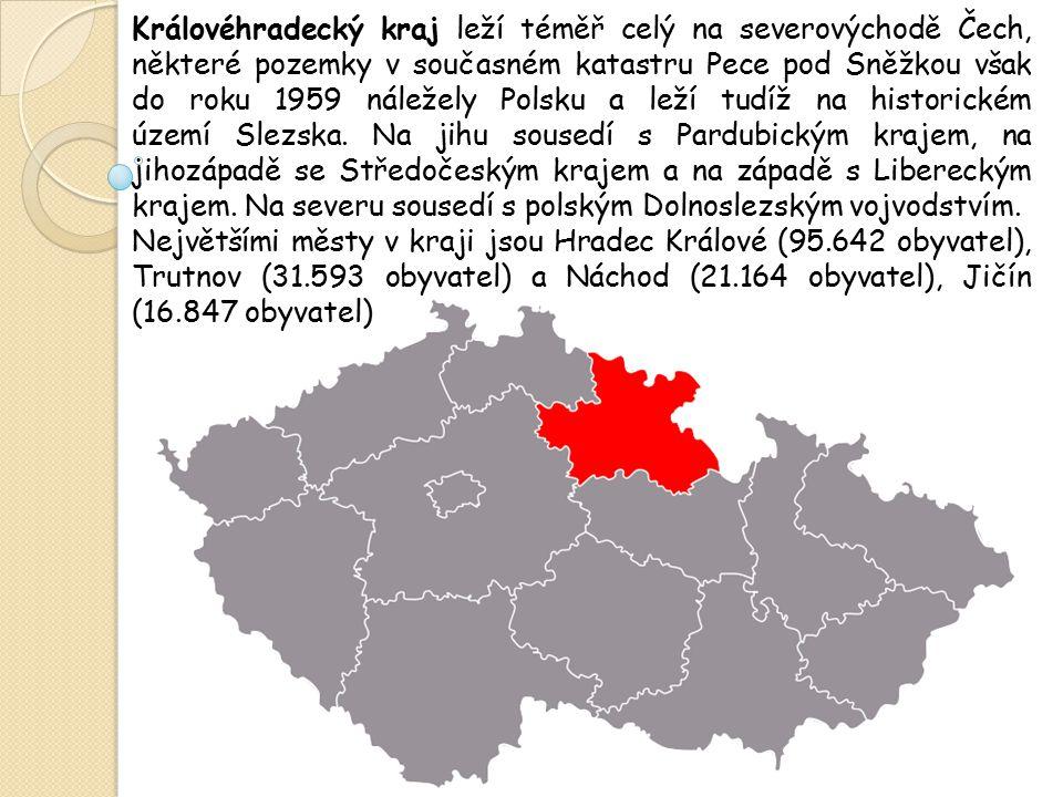 Královéhradecký kraj leží téměř celý na severovýchodě Čech, některé pozemky v současném katastru Pece pod Sněžkou však do roku 1959 náležely Polsku a