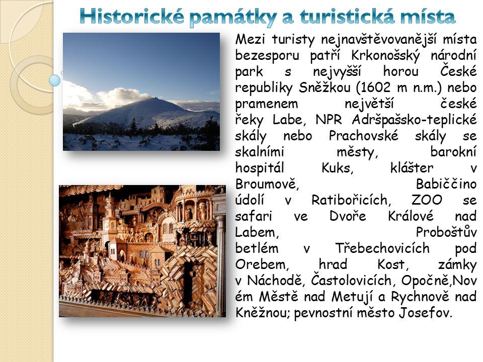 Mezi turisty nejnavštěvovanější místa bezesporu patří Krkonošský národní park s nejvyšší horou České republiky Sněžkou (1602 m n.m.) nebo pramenem nej