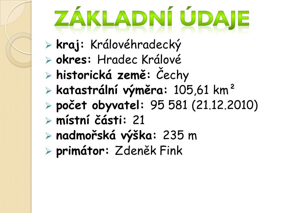 kkraj: Královéhradecký ookres: Hradec Králové hhistorická země: Čechy kkatastrální výměra: 105,61 km² ppočet obyvatel: 95 581 (21.12.2010) 