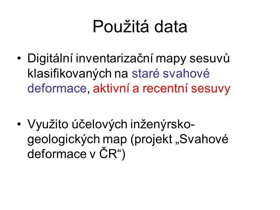 Použitá data Digitální geologická mapa GEO ČR 1:50 000 Digitální model terénu vytvořený z DMÚ 25