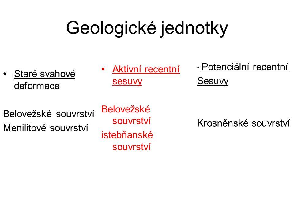 Geologické jednotky Staré svahové deformace Belovežské souvrství Menilitové souvrství Aktivní recentní sesuvy Belovežské souvrství istebňanské souvrst
