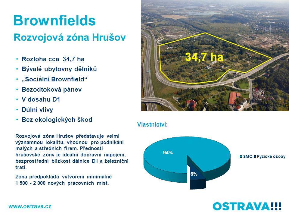 """Rozvojová zóna Hrušov Rozloha cca 34,7 ha Bývalé ubytovny dělníků """"Sociální Brownfield"""" Bezodtoková pánev V dosahu D1 Důlní vlivy Bez ekologických ško"""