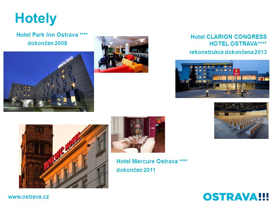 Hotely Hotel Park Inn Ostrava **** dokončen 2008 Hotel Mercure Ostrava **** dokončen 2011 Hotel CLARION CONGRESS HOTEL OSTRAVA**** rekonstrukce dokonč