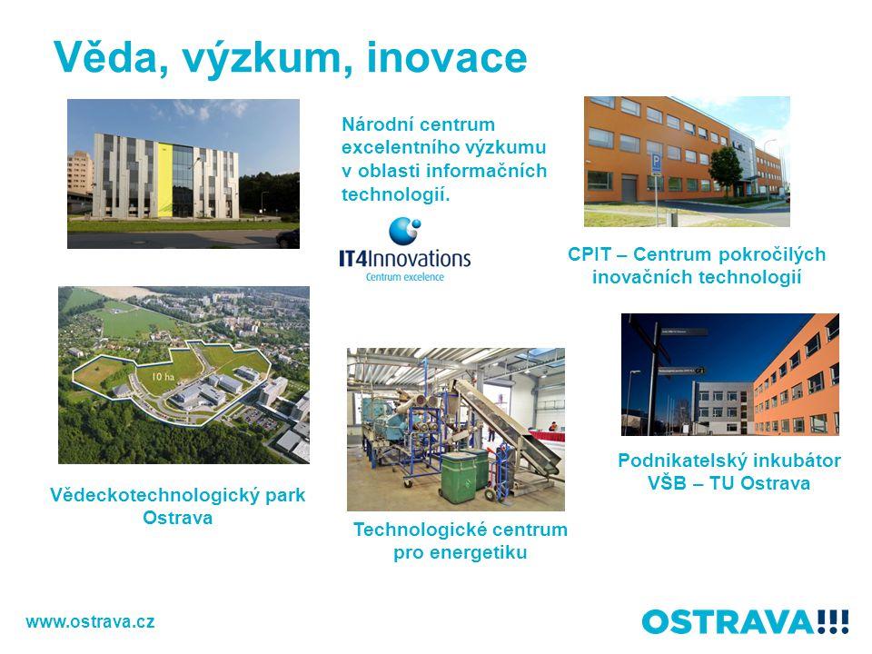 Věda, výzkum, inovace Vědeckotechnologický park Ostrava Národní centrum excelentního výzkumu v oblasti informačních technologií. Technologické centrum
