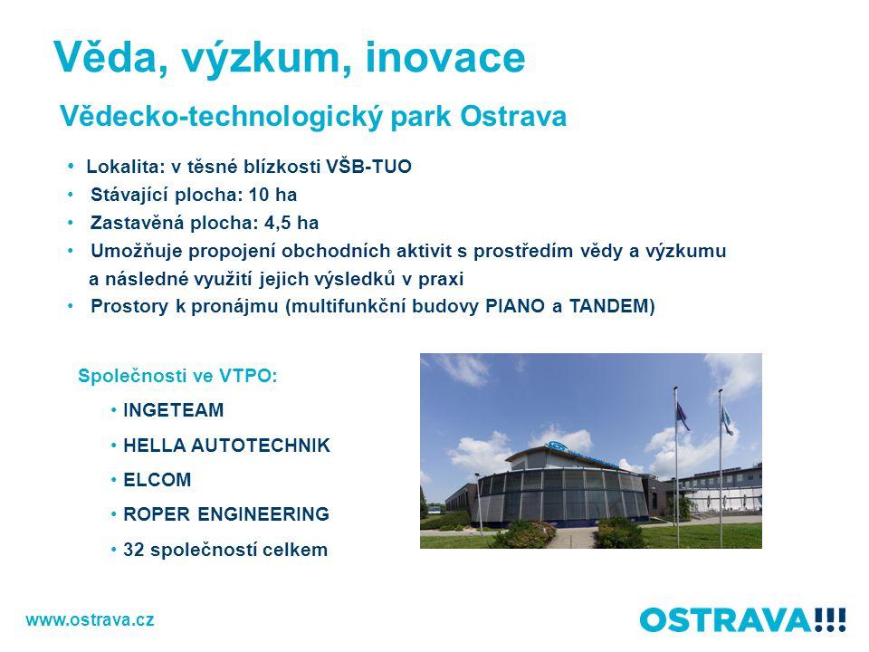 Vědecko-technologický park Ostrava Lokalita: v těsné blízkosti VŠB-TUO Stávající plocha: 10 ha Zastavěná plocha: 4,5 ha Umožňuje propojení obchodních