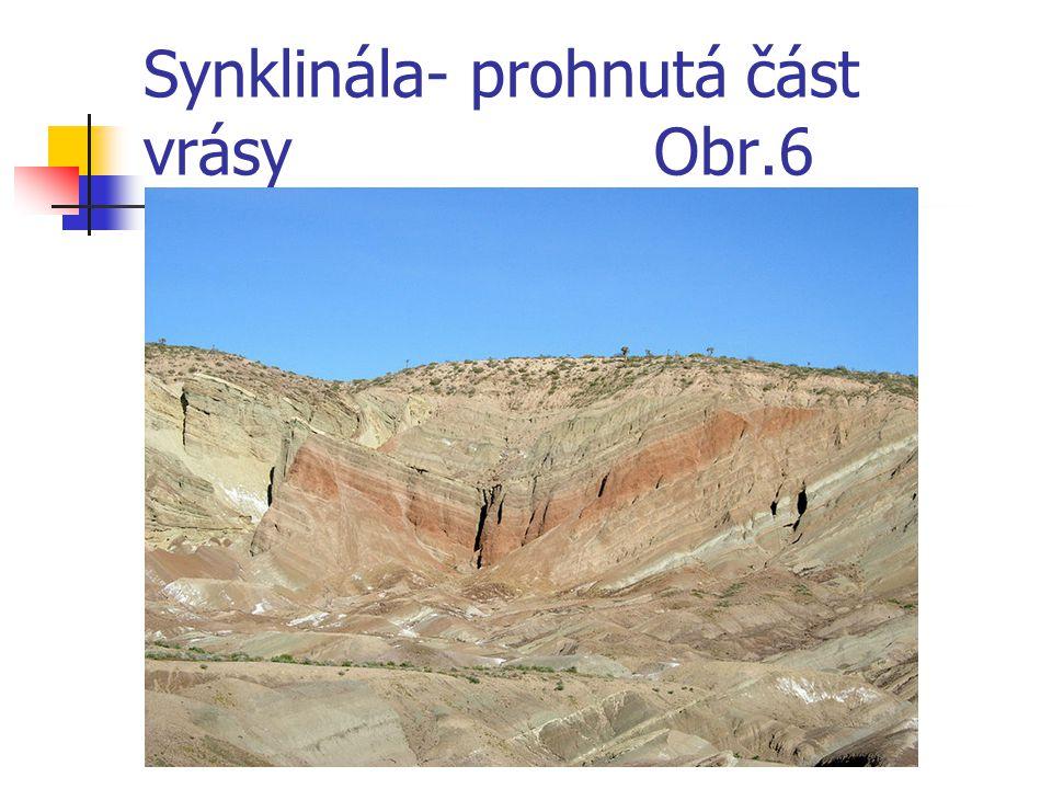 Synklinála- prohnutá část vrásy Obr.6