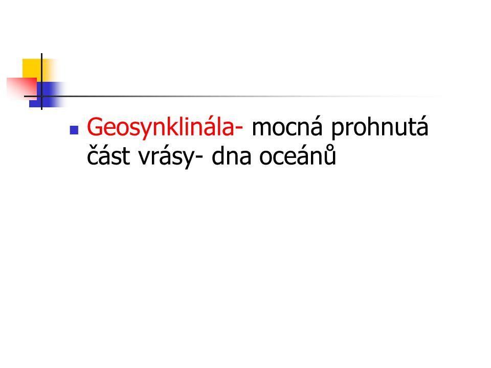 Geosynklinála- mocná prohnutá část vrásy- dna oceánů