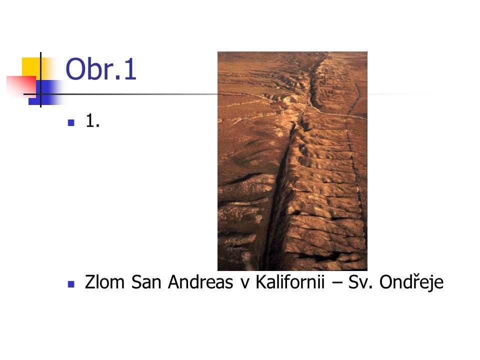 Obr.1 1. Zlom San Andreas v Kalifornii – Sv. Ondřeje