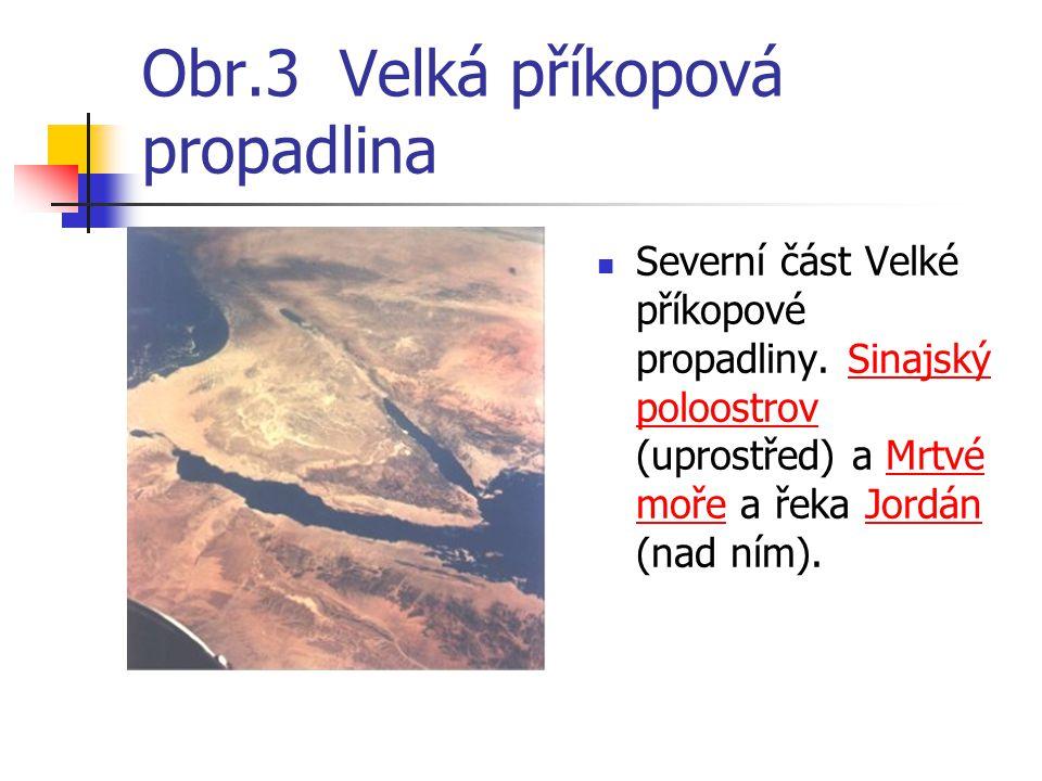 Obr.3 Velká příkopová propadlina Severní část Velké příkopové propadliny. Sinajský poloostrov (uprostřed) a Mrtvé moře a řeka Jordán (nad ním).Sinajsk