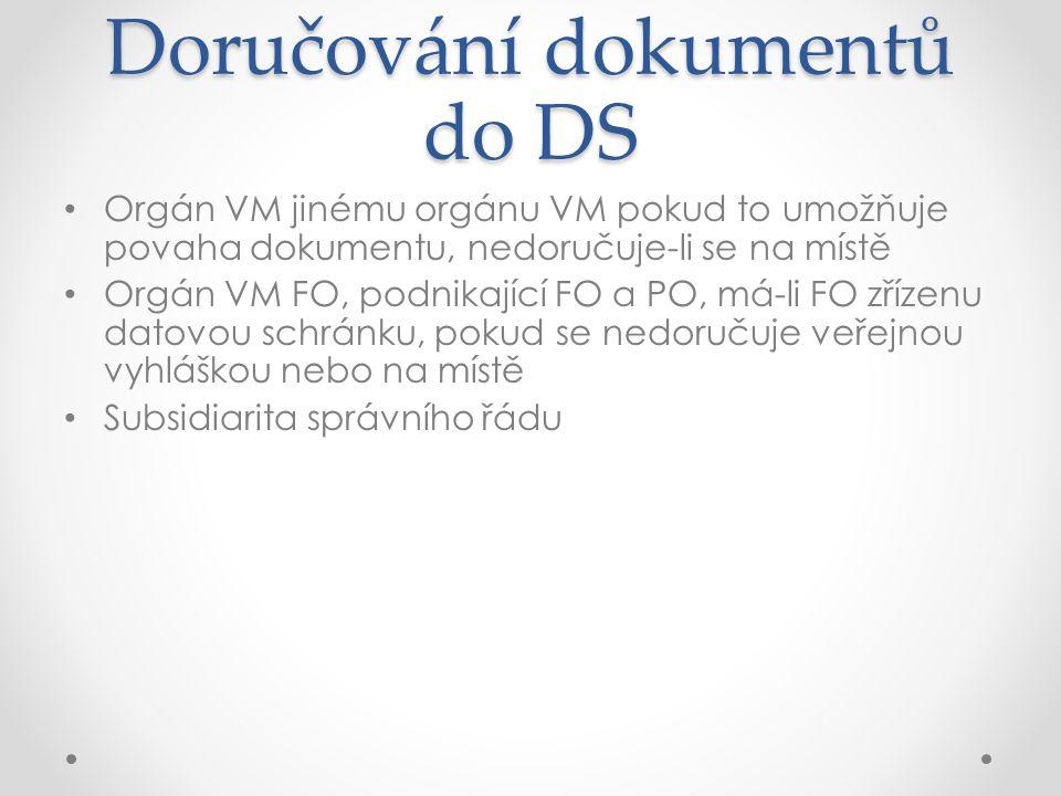 Doručování dokumentů do DS Orgán VM jinému orgánu VM pokud to umožňuje povaha dokumentu, nedoručuje-li se na místě Orgán VM FO, podnikající FO a PO, m