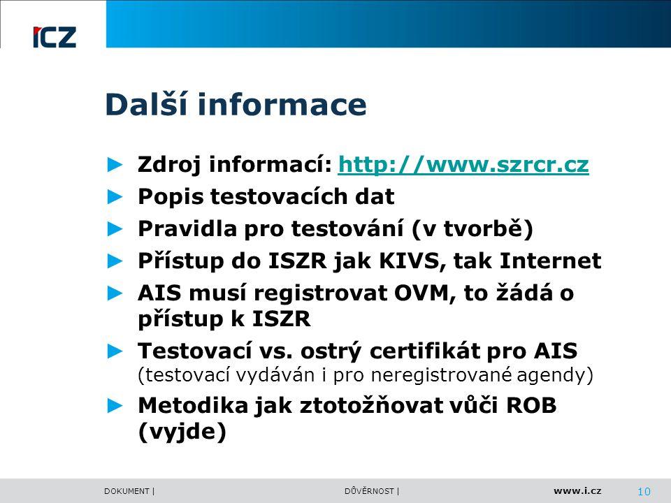 www.i.cz DOKUMENT |DŮVĚRNOST | Další informace ► Zdroj informací: http://www.szrcr.czhttp://www.szrcr.cz ► Popis testovacích dat ► Pravidla pro testov
