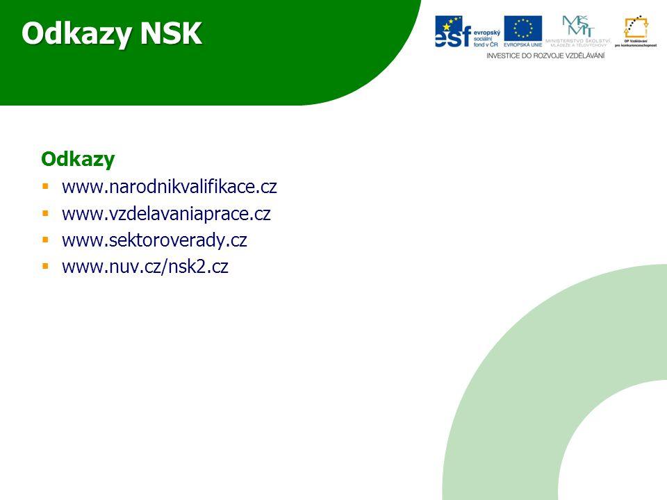 Odkazy NSK Odkazy  www.narodnikvalifikace.cz  www.vzdelavaniaprace.cz  www.sektoroverady.cz  www.nuv.cz/nsk2.cz