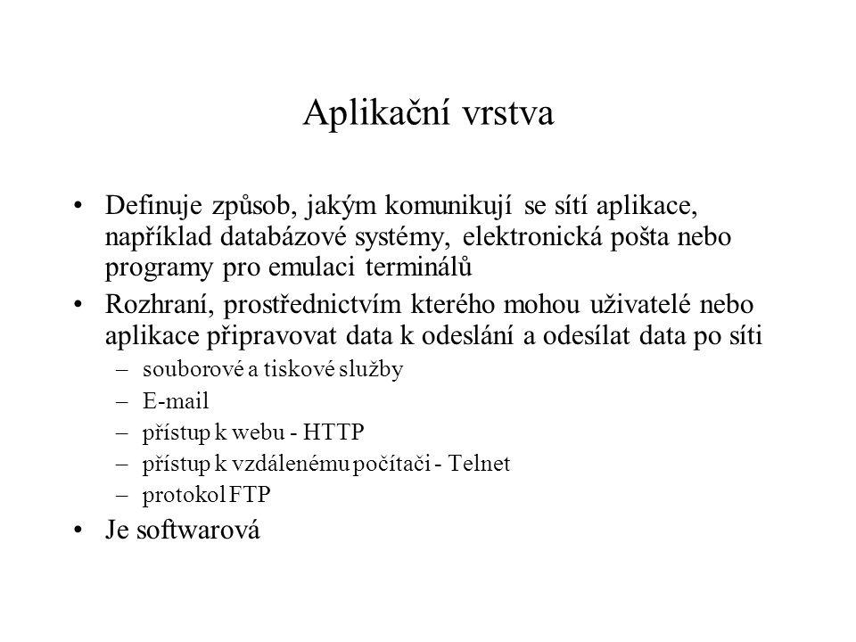 Aplikační vrstva Definuje způsob, jakým komunikují se sítí aplikace, například databázové systémy, elektronická pošta nebo programy pro emulaci terminálů Rozhraní, prostřednictvím kterého mohou uživatelé nebo aplikace připravovat data k odeslání a odesílat data po síti –souborové a tiskové služby –E-mail –přístup k webu - HTTP –přístup k vzdálenému počítači - Telnet –protokol FTP Je softwarová