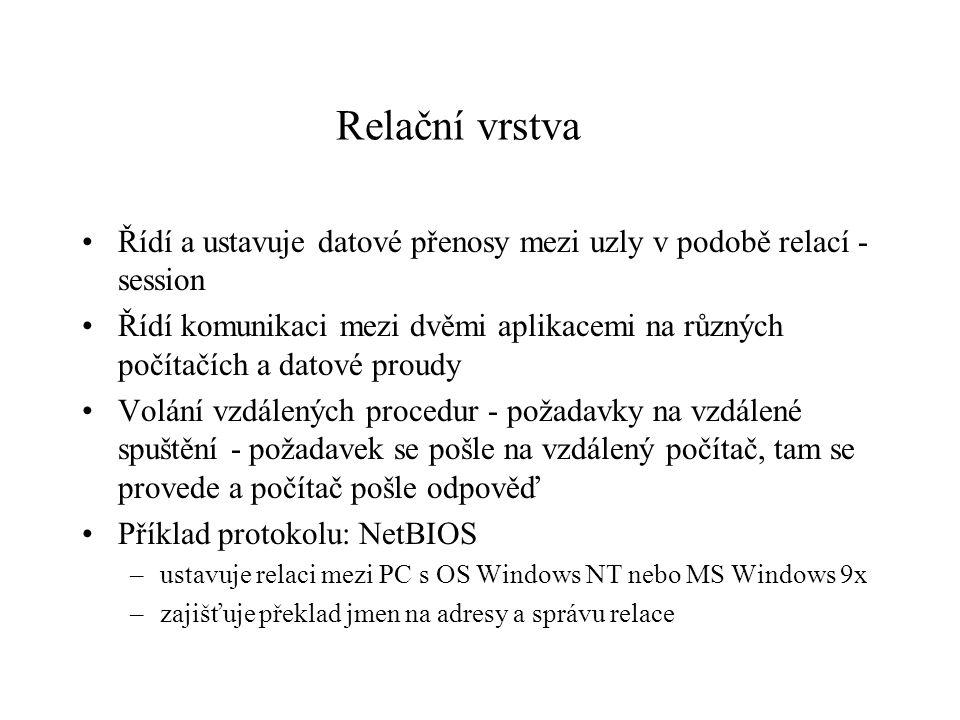 Relační vrstva Řídí a ustavuje datové přenosy mezi uzly v podobě relací - session Řídí komunikaci mezi dvěmi aplikacemi na různých počítačích a datové proudy Volání vzdálených procedur - požadavky na vzdálené spuštění - požadavek se pošle na vzdálený počítač, tam se provede a počítač pošle odpověď Příklad protokolu: NetBIOS –ustavuje relaci mezi PC s OS Windows NT nebo MS Windows 9x –zajišťuje překlad jmen na adresy a správu relace