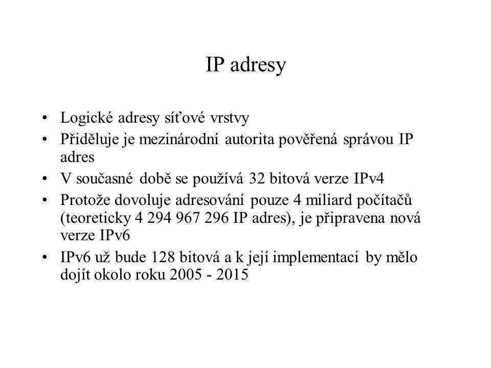 IP adresy Logické adresy síťové vrstvy Přiděluje je mezinárodní autorita pověřená správou IP adres V současné době se používá 32 bitová verze IPv4 Protože dovoluje adresování pouze 4 miliard počítačů (teoreticky 4 294 967 296 IP adres), je připravena nová verze IPv6 IPv6 už bude 128 bitová a k její implementaci by mělo dojít okolo roku 2005 - 2015