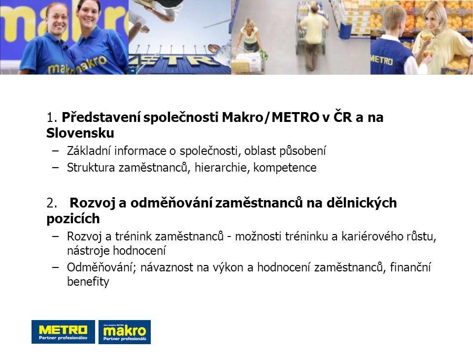 1. Představení společnosti Makro/METRO v ČR a na Slovensku –Základní informace o společnosti, oblast působení –Struktura zaměstnanců, hierarchie, komp