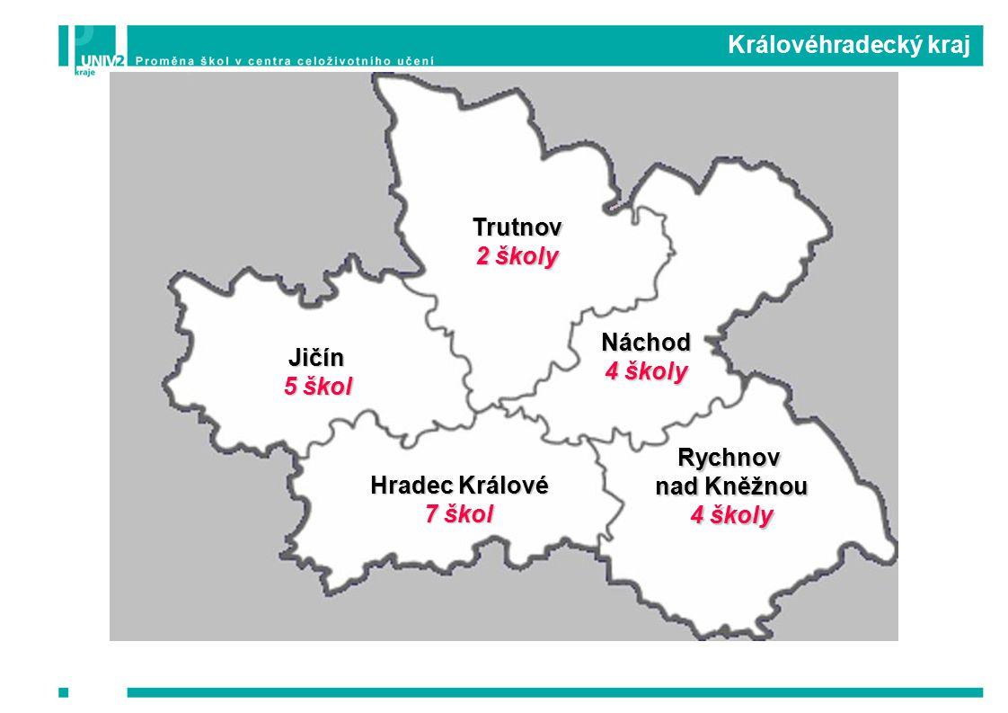 Královéhradecký kraj Hradec Králové 7 škol Jičín 5 škol Náchod 4 školy Rychnov nad Kněžnou 4 školy Trutnov 2 školy