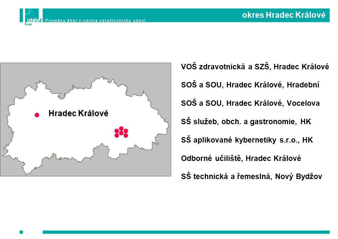 okres Hradec Králové VOŠ zdravotnická a SZŠ, Hradec Králové SOŠ a SOU, Hradec Králové, Hradební SOŠ a SOU, Hradec Králové, Vocelova SŠ služeb, obch.