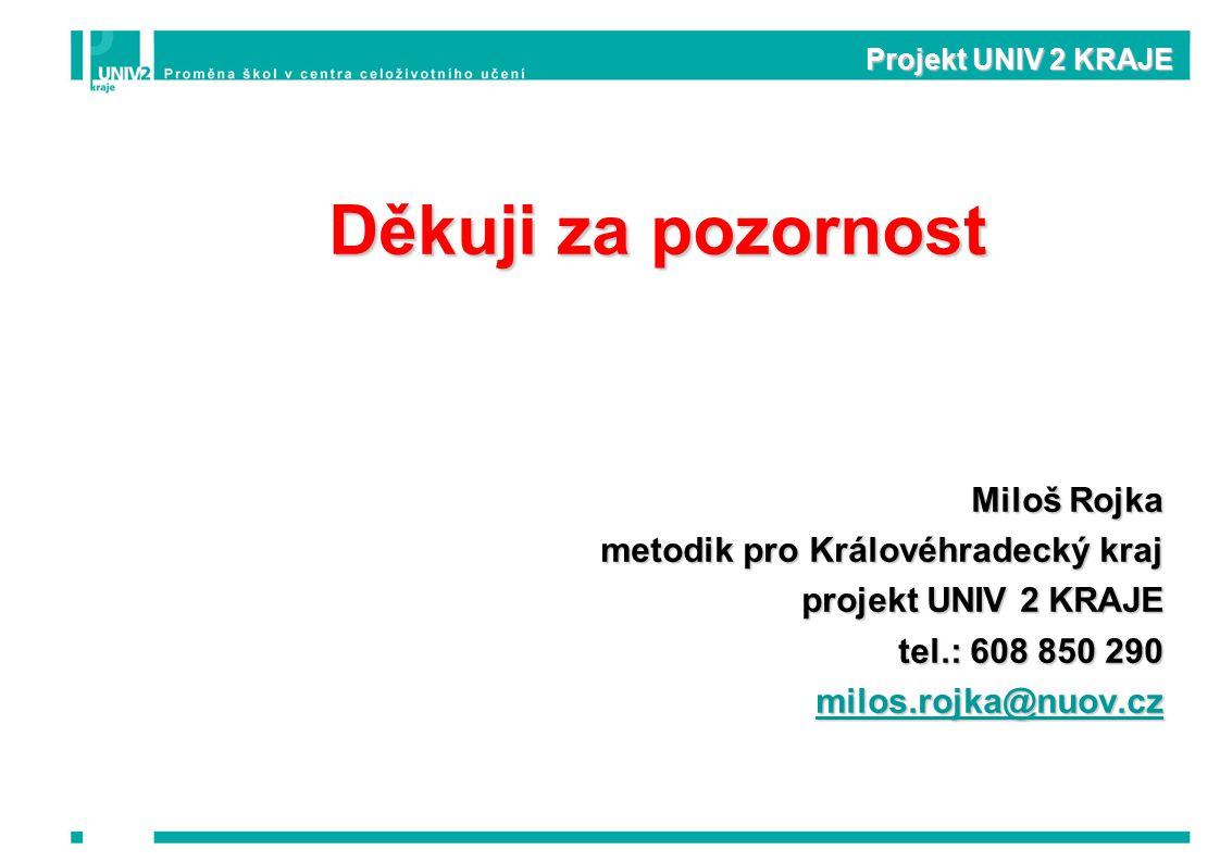 Projekt UNIV 2 KRAJE Děkuji za pozornost Miloš Rojka metodik pro Královéhradecký kraj projekt UNIV 2 KRAJE tel.: 608 850 290 milos.rojka@nuov.cz