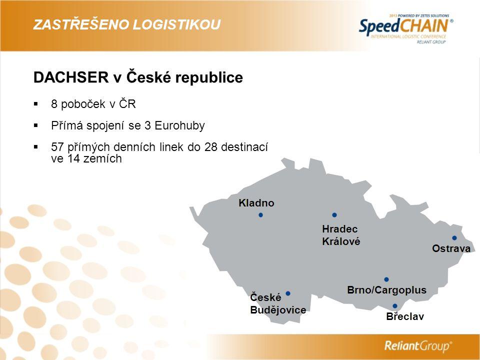 DACHSER investuje ZASTŘEŠENO LOGISTIKOU  Španělsko – akvizice v divizi Air&Sea Logistics – společnost Transunion  Španělsko – akvizice v divizi European Logistics – společnost Azkar  Holandsko – akvizice v divizi Air&Sea Logistics – společnost DACHSER Netherlands  Česká republika – investice do rozšíření logistického centra Kladno v divizi European Logistics – DACHSER Czech Republic  Finsko – akvizice v divizi Air&Sea Logistics - Oy Waco Logistics Finland