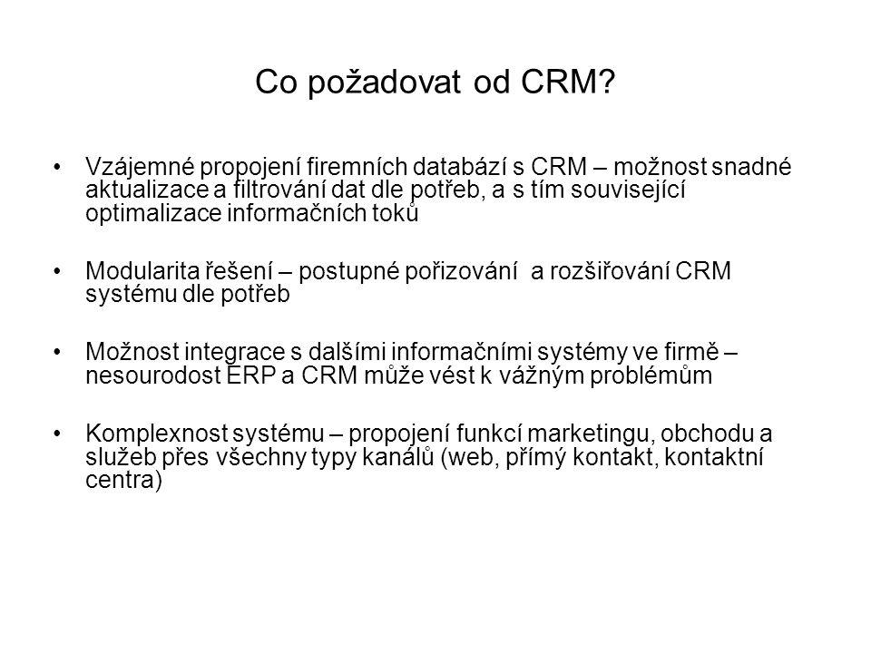 Co požadovat od CRM? Vzájemné propojení firemních databází s CRM – možnost snadné aktualizace a filtrování dat dle potřeb, a s tím související optimal