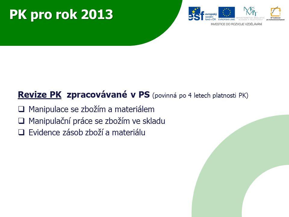 PK pro rok 2013 Revize PK zpracovávané v PS (povinná po 4 letech platnosti PK)  Manipulace se zbožím a materiálem  Manipulační práce se zbožím ve skladu  Evidence zásob zboží a materiálu