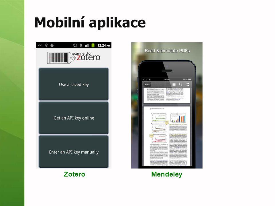 Mobilní aplikace ZoteroMendeley