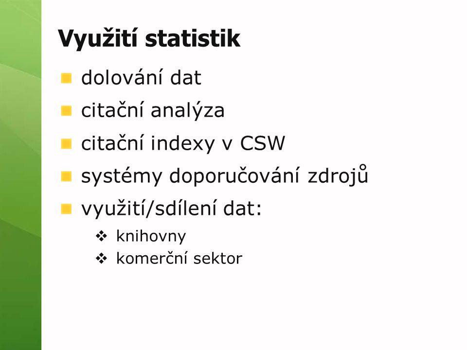 Využití statistik dolování dat citační analýza citační indexy v CSW systémy doporučování zdrojů využití/sdílení dat:  knihovny  komerční sektor