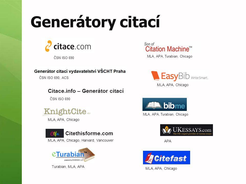 Exporty podpora citačních stylů generátory citačních stylů  integrované (Refworks, ENW)  externí  http://csleditor.quist.de/csleditor http://csleditor.quist.de/csleditor  http://editor.citationstyles.org/visualEditor/ http://editor.citationstyles.org/visualEditor/ výstupní formáty  HTML, DOC, ODT, XLS, BibTex, RIS,… seznamy