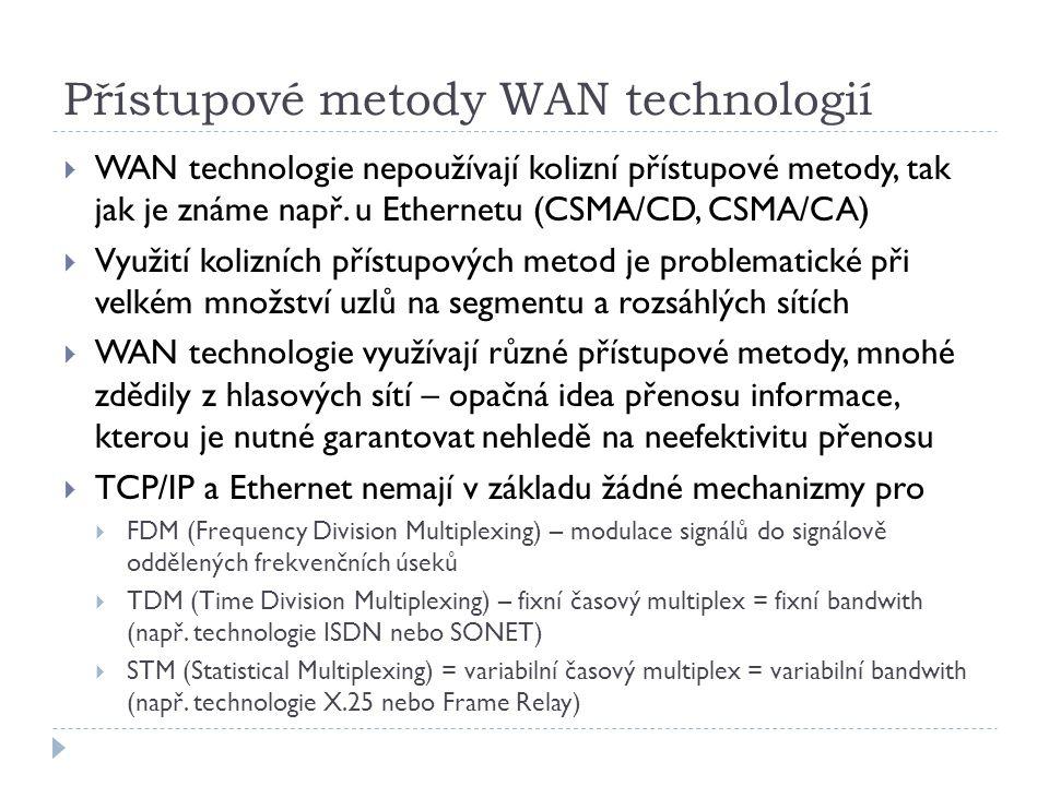 Přístupové metody WAN technologií  WAN technologie nepoužívají kolizní přístupové metody, tak jak je známe např.