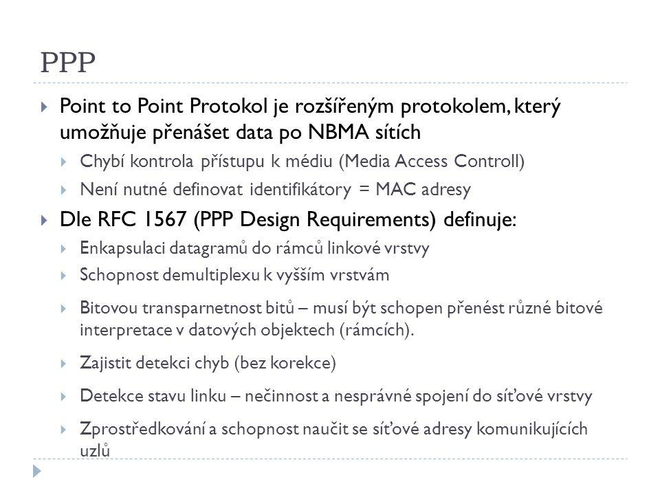 PPP  Point to Point Protokol je rozšířeným protokolem, který umožňuje přenášet data po NBMA sítích  Chybí kontrola přístupu k médiu (Media Access Controll)  Není nutné definovat identifikátory = MAC adresy  Dle RFC 1567 (PPP Design Requirements) definuje:  Enkapsulaci datagramů do rámců linkové vrstvy  Schopnost demultiplexu k vyšším vrstvám  Bitovou transparnetnost bitů – musí být schopen přenést různé bitové interpretace v datových objektech (rámcích).