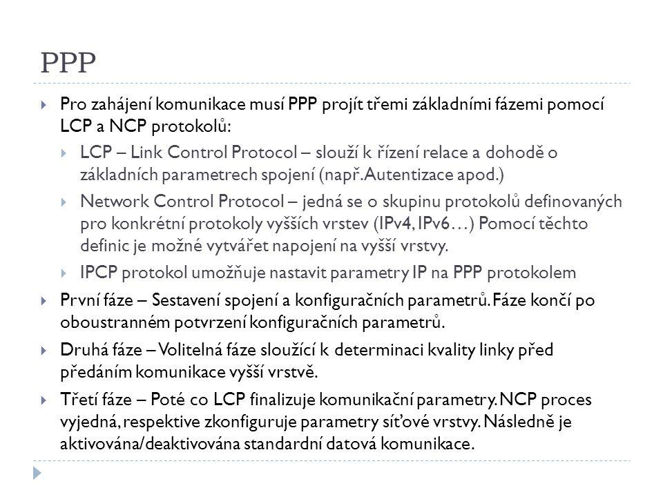 PPP  Pro zahájení komunikace musí PPP projít třemi základními fázemi pomocí LCP a NCP protokolů:  LCP – Link Control Protocol – slouží k řízení relace a dohodě o základních parametrech spojení (např.