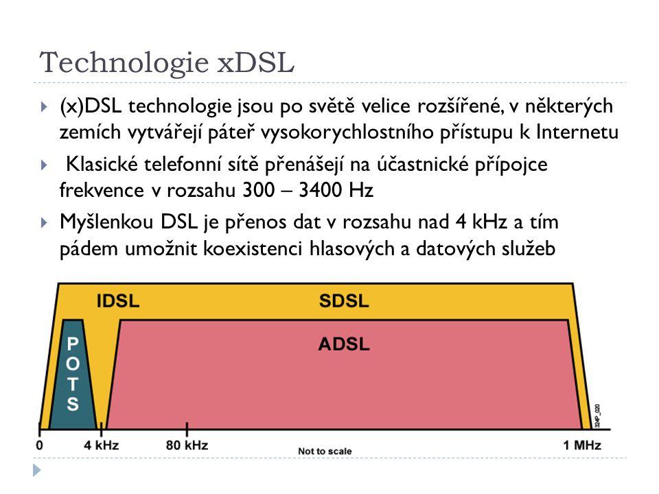 Technologie xDSL  (x)DSL technologie jsou po světě velice rozšířené, v některých zemích vytvářejí páteř vysokorychlostního přístupu k Internetu  Klasické telefonní sítě přenášejí na účastnické přípojce frekvence v rozsahu 300 – 3400 Hz  Myšlenkou DSL je přenos dat v rozsahu nad 4 kHz a tím pádem umožnit koexistenci hlasových a datových služeb