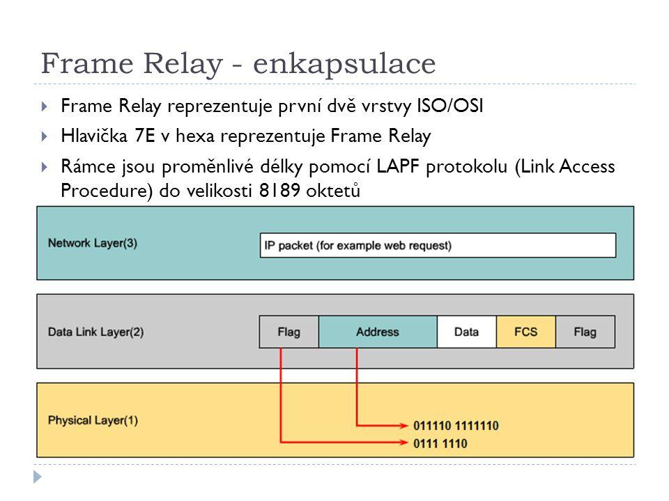 Frame Relay - enkapsulace  Frame Relay reprezentuje první dvě vrstvy ISO/OSI  Hlavička 7E v hexa reprezentuje Frame Relay  Rámce jsou proměnlivé délky pomocí LAPF protokolu (Link Access Procedure) do velikosti 8189 oktetů