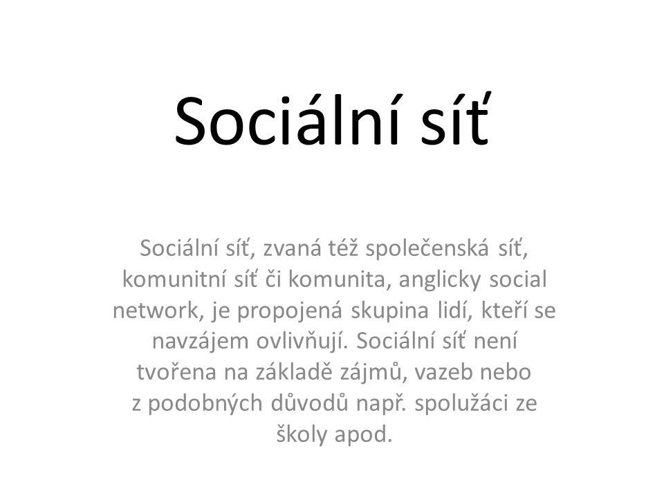 Sociální síť Sociální síť, zvaná též společenská síť, komunitní síť či komunita, anglicky social network, je propojená skupina lidí, kteří se navzájem ovlivňují.