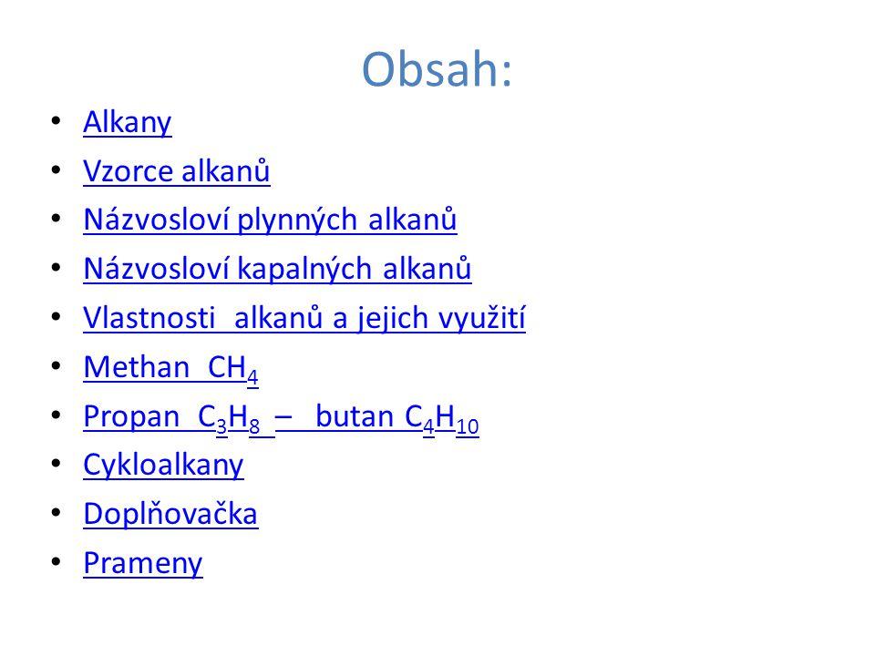 Obsah: Alkany Vzorce alkanů Názvosloví plynných alkanů Názvosloví kapalných alkanů Vlastnosti alkanů a jejich využití Methan CH 4 Methan CH 4 Propan C 3 H 8 – butan C 4 H 10 Propan C 3 H 8 – butan C 4 H 10 Cykloalkany Doplňovačka Prameny