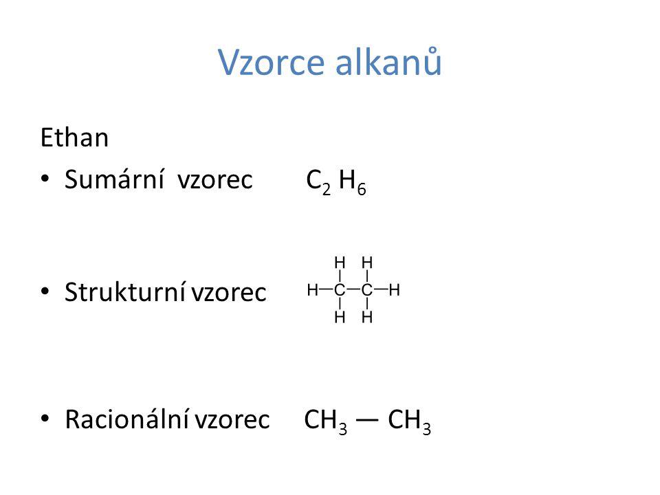 Vzorce alkanů Ethan Sumární vzorec C 2 H 6 Strukturní vzorec Racionální vzorec CH 3 — CH 3