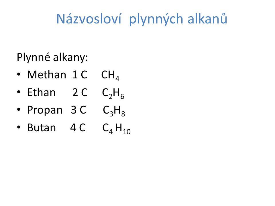Názvosloví plynných alkanů Plynné alkany: Methan 1 C CH 4 Ethan 2 C C 2 H 6 Propan 3 C C 3 H 8 Butan 4 C C 4 H 10