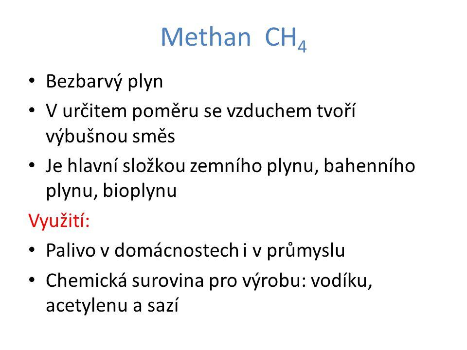 Methan CH 4 Bezbarvý plyn V určitem poměru se vzduchem tvoří výbušnou směs Je hlavní složkou zemního plynu, bahenního plynu, bioplynu Využití: Palivo v domácnostech i v průmyslu Chemická surovina pro výrobu: vodíku, acetylenu a sazí