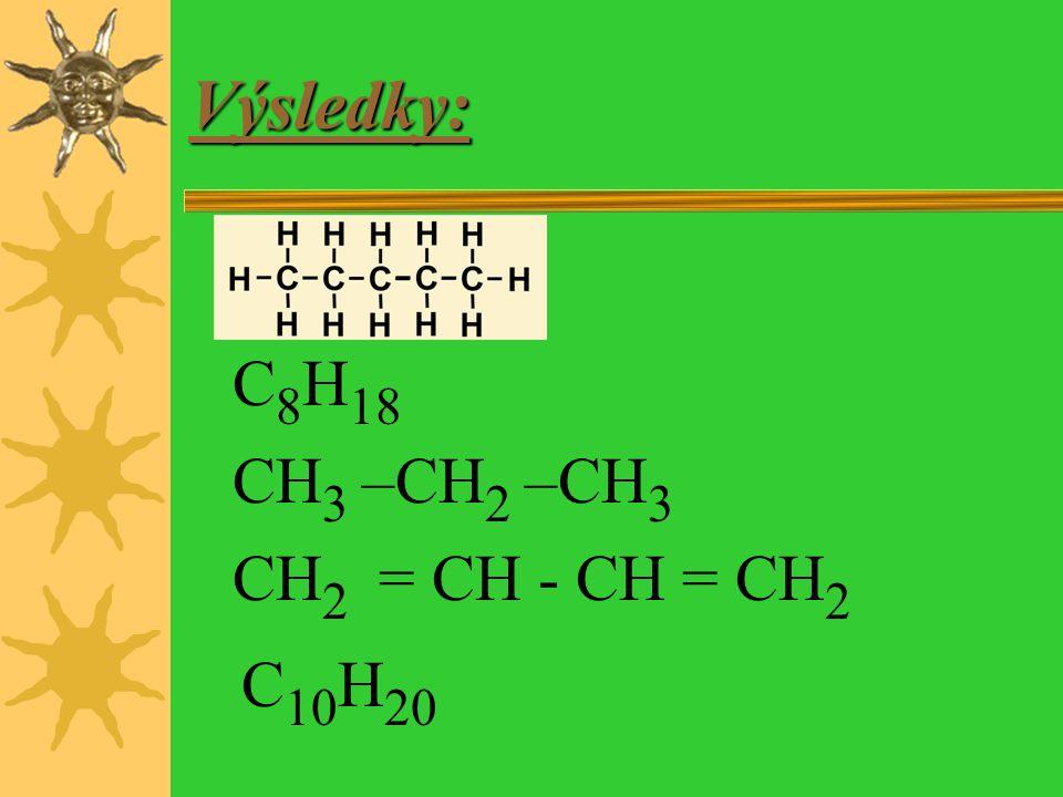 Napiš vzorec:  Penten (strukturní)  Oktan (molekulový)  Propan (racionální)  Butadien (racionální)  Deken (molekulový)