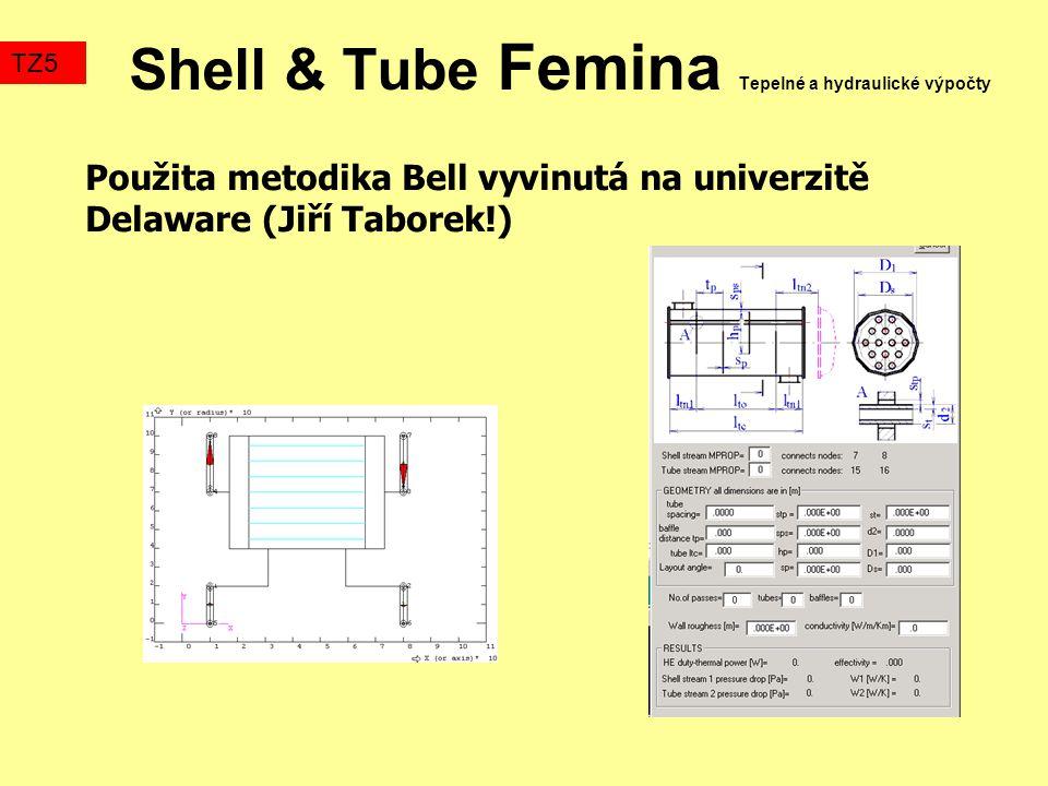 Shell & Tube Femina Tepelné a hydraulické výpočty Použita metodika Bell vyvinutá na univerzitě Delaware (Jiří Taborek!) TZ5